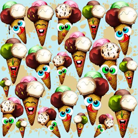 Ice Cream Cones Cartoon Summer Pattern Stock Photo