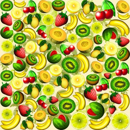 Summer Fruits Juicy Pattern Stock Photo