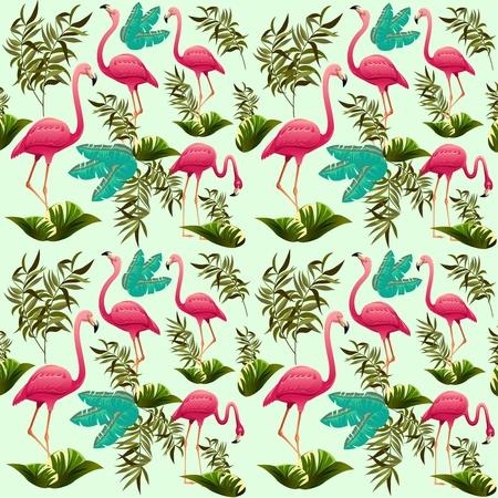 Pink Flamingos Exotic Pattern Ornamental Decorative Fabric Motive. Exotic Bird. Illustration