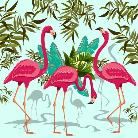 flamingos: Pink Flamingos Exotic Birds. Decorative Group of Three Flamingos and Exotic Plants