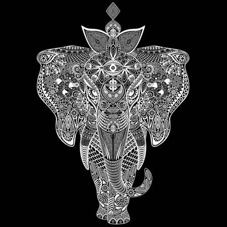 Elephant  Doodle Black and White 2
