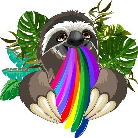 Sloth Spitting Rainbow Colors Illustration
