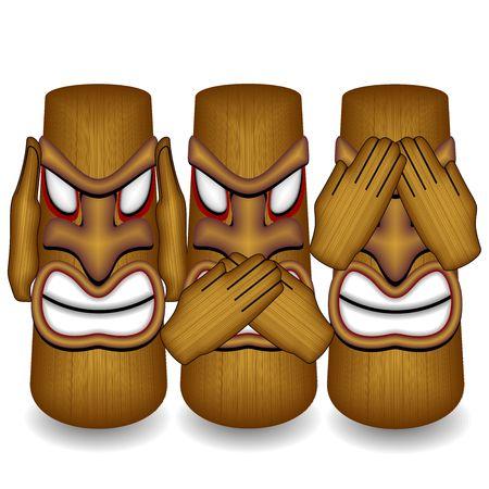 wooden mask: Dont See Dont Hear Dont Speak Totems Illustration