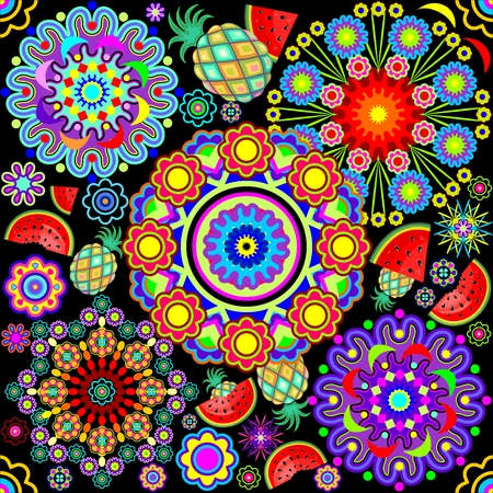 Mandalas & Exotic Fruits Pattern Illustration