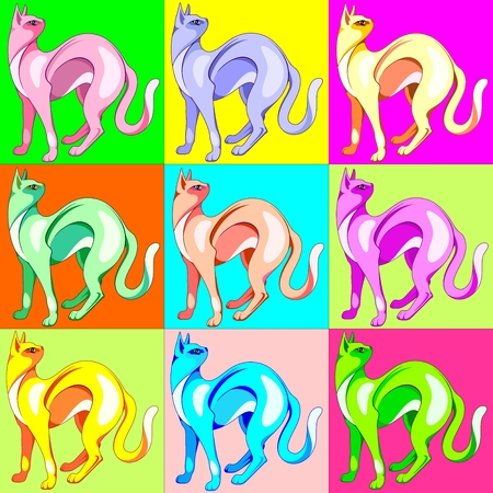 Cat Pop Art Rainbow Colors