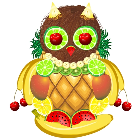 Owl Juicy Fruits Illustration