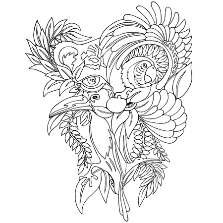 Surreal Wild Life Tattoo Style Black Black and White Illustration