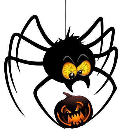 Halloween Spider Cartoon holding a Pumpkin Illustration