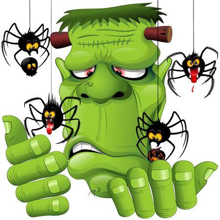 Frankenstein Spiders Pets Cartoon