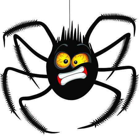 """거미 """"오, 안돼!"""" 얼굴 이모티콘 만화 캐릭터."""