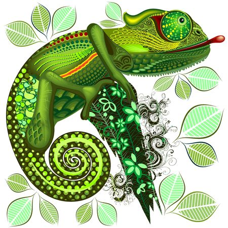 Chameleon Green Fantasy Patterned
