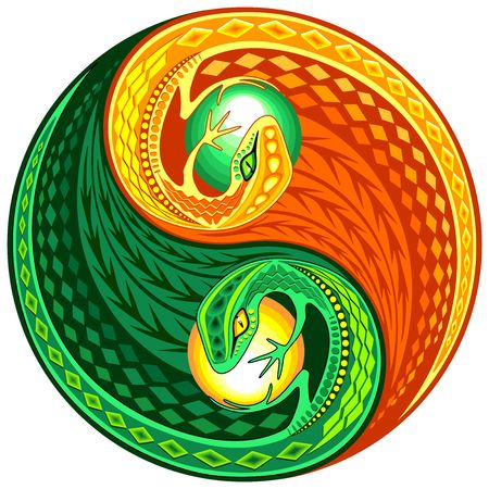 YinYang Gecko Lizard Opposite Colors Sign