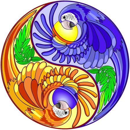 Yin Yang Macaw Perroquet Signe Vecteurs