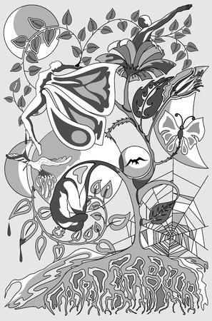 Metamorphosis and Connections Surreal Conceptual Art Ilustracja