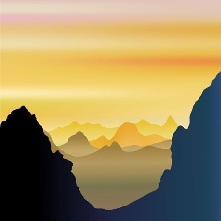 Mountains breathy and misty landscape vector illustration. Illustration
