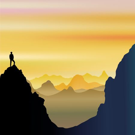 On Top of the World - Lonely Man on Mountains Landscape Illustration