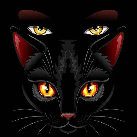 Witch black kitten eyes illustration. Ilustração