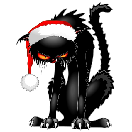 Christmas black cat scary character