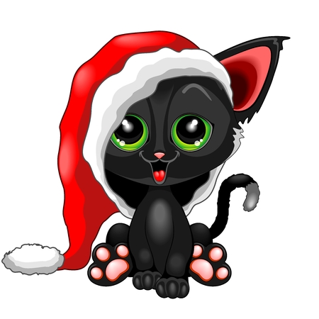 Cute Chrsitmas Kitty with Big Santa Claus Beanie Illustration