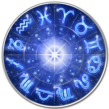 Zodiac Signs Blue Galaxy Circle 版權商用圖片