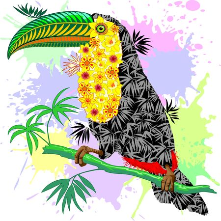 Toucan floral pattern. Wild Bird from Amazon rain forest.