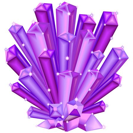 Amethyst crystal faceted purple gem illustration. Illustration
