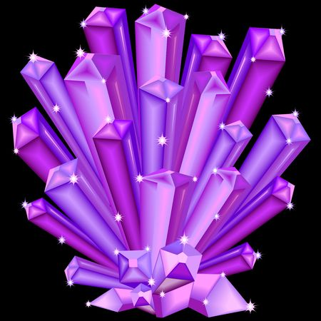 Amethyst crystal faceted purple gem illustration. Stock Vector - 92200056