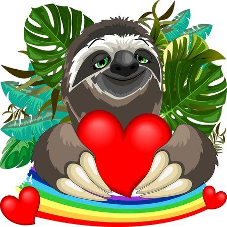 Cute Sloth in Love. Ilustração