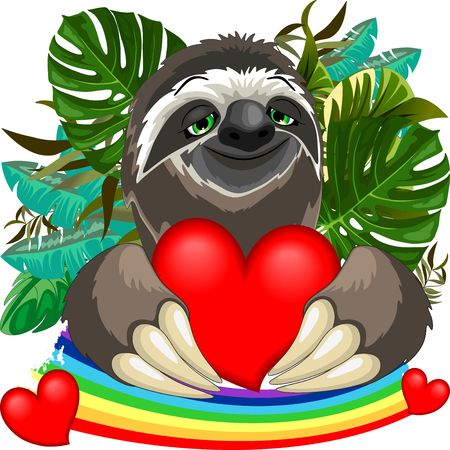Cute Sloth in Love. Illustration