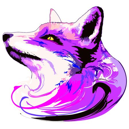 Purple Fox Spirit on white background