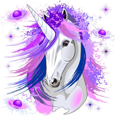 Unicorn Spirit Pink and Purple Mythical Creature Stock fotó - 94176339