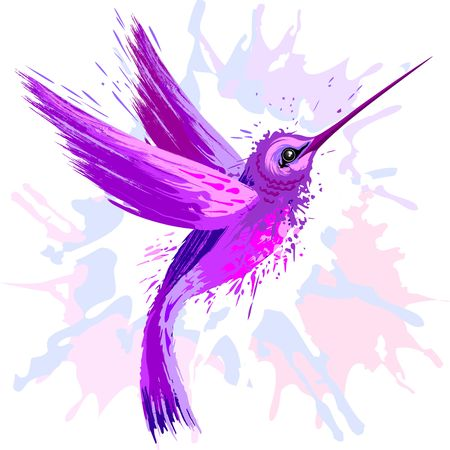 Hummingbird Spirit Purple Watercolor