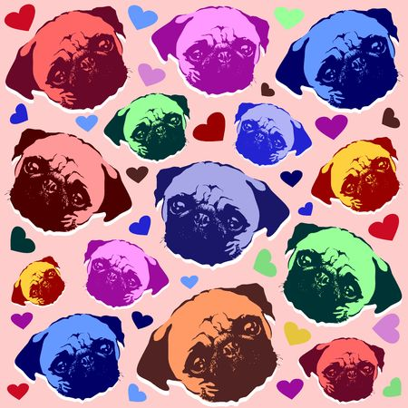 Pug Puppy Dog Love Hearts Pattern