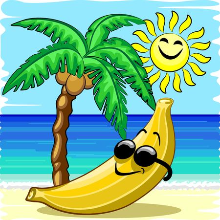 Banana Chill Happy Summer Cartoon Character