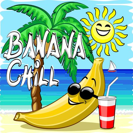 Banana Chill Happy Summer Cartoon Character with Text Illustration