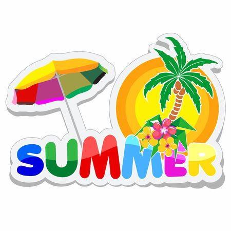 Summer Sticker with Text, Palmtree, Flowers and Parasol. Çizim