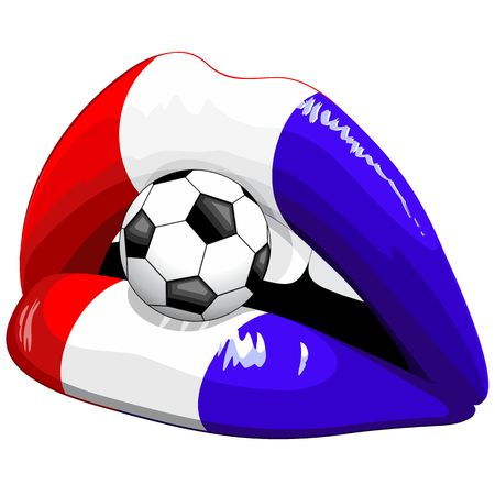 France Flag Lipstick Soccer Supporters Stock Vector - 103786338