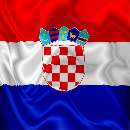 Croatia Flag Waving Digital Silk Satin Fabric Stock Photo - 103924455