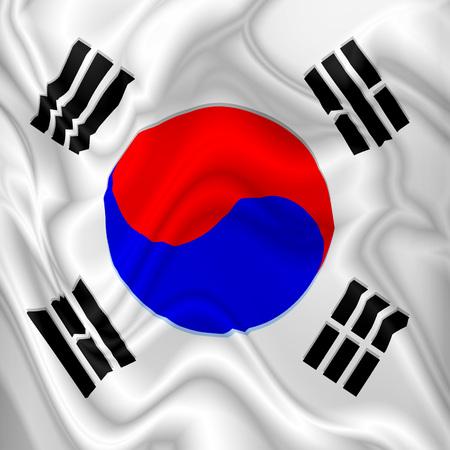 South Korea Flag Waving Digital Silk Satin Fabric