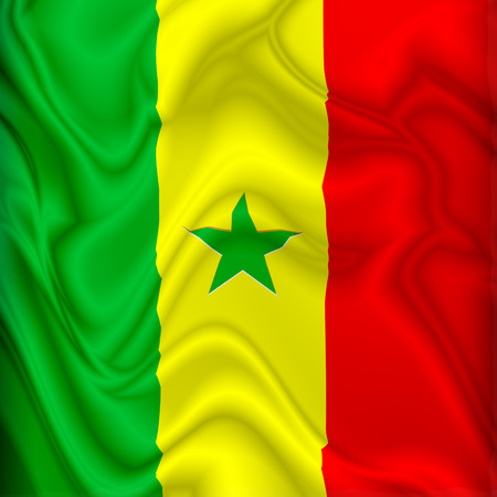 Senegal  Flag Waving Digital Silk Satin Fabric