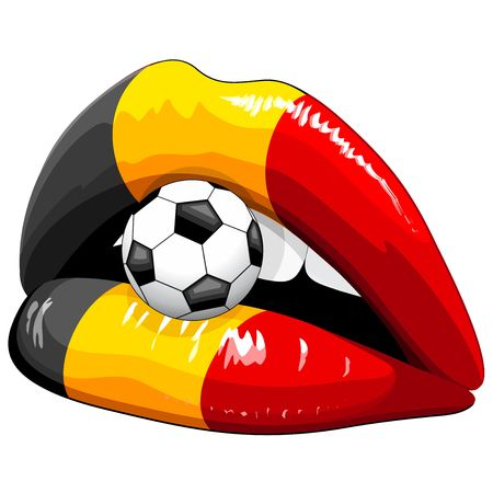 Belgium Flag Lipstick Soccer Supporters on Sensual Womans Lips
