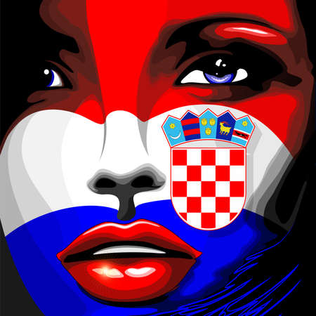 Croatia Flag Beautiful Girl Portrait Illustration