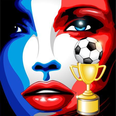 France Flag Girl Portrait Champions