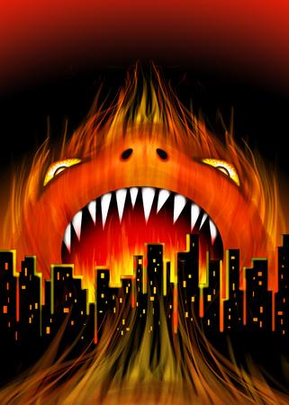 Monster City Fire Beast vector illustration