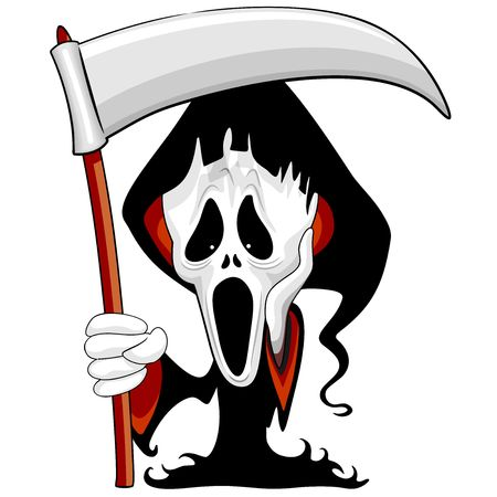 Grim Reaper The Scream Parody Cartoon Character Vettoriali