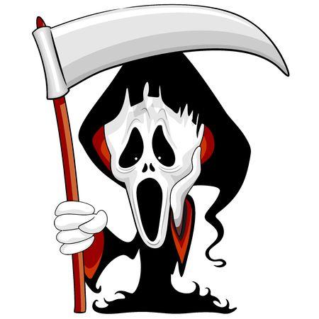 Grim Reaper The Scream Parody personaggio dei cartoni animati Vettoriali