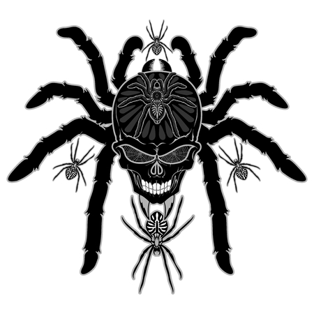 Spider Skull Tattoo Black and White