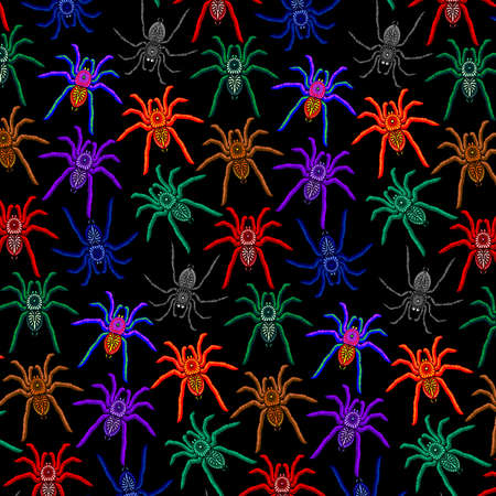 Spiders Pattern Colorful Tarantulas on Black Background Vector illustration