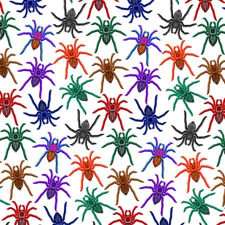 Spiders Pattern Colorful Tarantulas