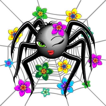 Spider Cute Wink Emoji Face Character Illustration